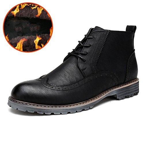 Automne-Hiver Martin de Bottes Brogue Bottine Hommes Chaussures à Lacet Loisirs Mode noir duvet