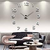 JUSTFOX - Designer Wanduhr für Wohnzimmer Edelstahl Wandtattoo Deko XXL
