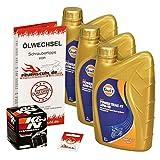 Gulf 10W-40 Öl + K&N Ölfilter für Honda VT 600 C Shadow, 88-00, PC21 - Ölwechselset inkl. Motoröl, Filter, Dichtring