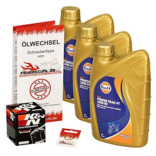 Gulf 10W-40 Öl + K&N Ölfilter für Honda NT 650 V Deauville, 98-05, RC47 - Ölwechselset inkl. Motoröl, Filter, Dichtring