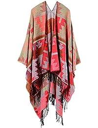 Mochoose Poncho et Cape Tricot Châle Plaid Écharpe Couverture Wrap Tartan  Chaude Frange Hiver pour Femme d82f9d1a05b