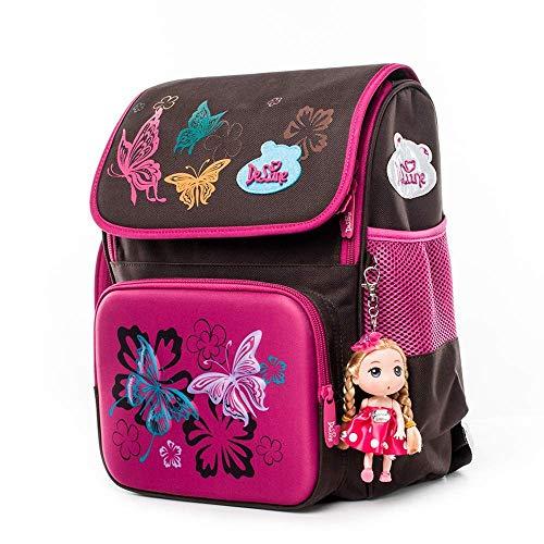 Delune Sac à Dos Orthopédique Enfant Cartable Scolaire Mignon Sac d'école Fille Papillon Toddler Backpack pour Sac Cadeau Filles Rentreé Scolaire Primaire (Papillon)