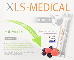 XLS Medical Berry Flavour Fat Binder Direct Weight Loss Aid - 1 Month Supply Pack, 90 Sachets