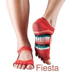 Toesox mujer 1par Bella Yoga de algodón orgánico con Dedos Abiertos en Negro, (Fiesta)