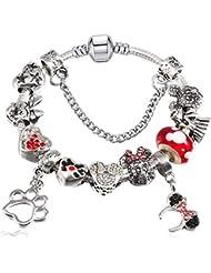 1040a854f4be QWERST Bracelet European Cartoon Cordones Fino Brazalete Fashion Crystal  Charm Bracelet para Mujeres Joyas