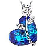 MEGA CREATIVE JEWELRY Amor de la Rosa Collares Mujer de Corazón para Las Damas Atractivas Cristales Swarovski Azul Bermuda Colgantes de la Moda Aleación, Regalo de la Joyería