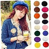 1pc Donne di Lana di Colore Solido Beret Femminile Bonnet Caps Tutti Matched Caldo Camminare Cappello della Protezione Sapphire