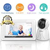 "BIGASUO Video Baby Monitor with Camera Wireless Digital 720P 7"" HD LCD Screen, Two Way Talk,5 Baby Lullabies, Sound & Movement Alarm, Night Vision,Temperature Alert with WiFi 2019 Upgrade"