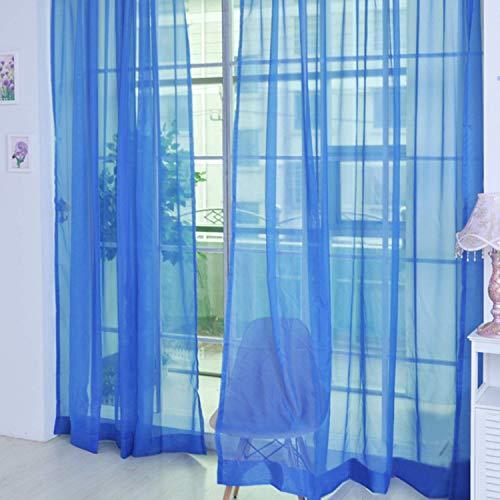 Weimilon Transparente Gardine Einfarbige Vorhang 6 Attraktive Einfacher Stil Farben Hochzeit Dekoration A 1 * 2M B 1 * 2 7M Für Kinderzimmer Schlafzimmer (Braun B) (Color : Dunkelblau, Size : B)