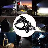 Hochleistung LED Stirnlampe,CAMTOA 5000LM LED Kopflampe Headlamp mit einstellbarem Fokus,4 Modi Helligkeiten Flashlight Kopfleuchten(Enthalten zwei 1600 mAh Batterie) für Camping Klettern Jagen - 3