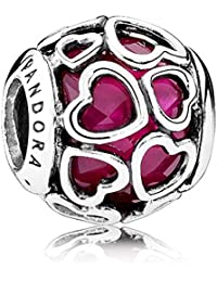 Pandora Cerise Encased In Love Pink & Silver Charm 792036NCC - Two Tone
