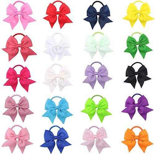 20Stück Haargummits mit Schleife, zufällige Farbauswahl, handgefertigte Schleifen-Haargummis, Zopfbänder, elastisch, für Mädchen, Kinder, Jugendliche, Kleinkinder