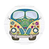 #detailverliebt Maus-Pad Hippie-Bus I DV_339 I Ø 22 cm Rund I Mouse-Pad Flower-Power-Bus Peace & Love