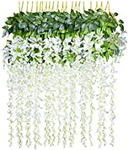 12pcs Artificial Silk Wisteria Vine Ratta Hanging Flower Wedding Decor, White