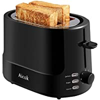 Aicok Toaster mit 2 Scheiben, Großer Toaster mit 7 Ebenen Grill und Abtau-Modus BPA Free, Kühle Oberfläche, Rostfreier Stahl, 850W, Schwarz