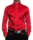 Renzo Herren Designer Glanz Hemd Bügelfrei Rot Größe XL 44