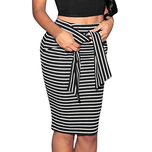 QUINTRA Women Striped Skirt Sexy Slim Short Pencil Skirts Bow Tied Skirt