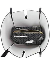 Clairefontaine Charlène Mullen 115388C Sac shopping en simili cuir de dimension 27 x 10 x 36 cm couleur gris/Noir avec anses Noir