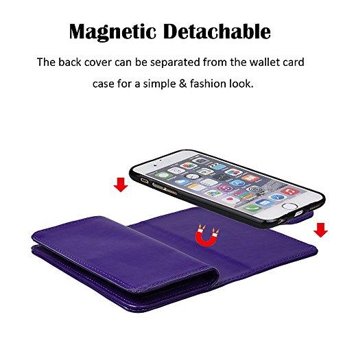 """xhorizon TM [Aktualisiert] FM8 2 in 1 führend DesignTop Notch Bifold Magnetisch Car MountPhone Halter Kompatibel Folio LederBrieftasche Hülle für iPhone 7 [4.7""""] mit 9H Ausgeglichenes GlasFilm Lila"""