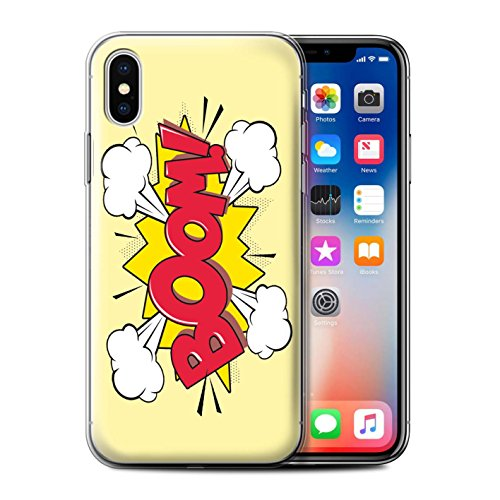 Stuff4 Gel TPU Hülle / Case für Apple iPhone X/10 / Pack 5pcs / Comics/Karikatur Wörter Kollektion Boom!