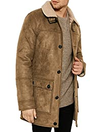 6d02558eb5 Mens Threadbare Faux Suede Borg Fleece Lined Long Trench Coat