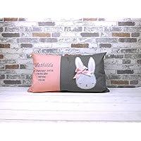 Dekokissen Geburtskissen Hase mit Namen rosa/grau