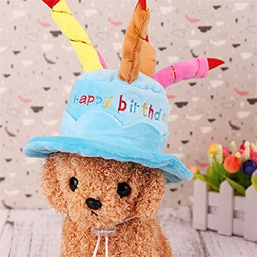NYAOLE Haustier-Geburtstagshut, weich, warm, mit Kuchen und Kerzen, für Hunde-Partys, blau