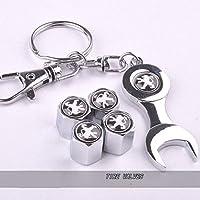Lot de 4bouchons de valve de pneu de la poussière pour voiture avec clé Keying avec logo Peugeot en couleur noir