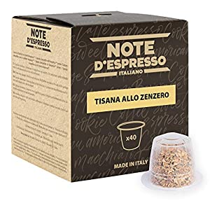 Note D'Espresso Tisana allo Zenzero in Capsule esclusivamente Compatibili con Sistema Nespresso*- 80 g (40 x 2 g)