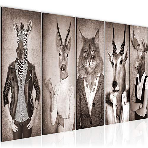 Bilder Tiere Hirsch Abstrakt Wandbild 150 x 60 cm Vlies - Leinwand Bild XXL Format Wandbilder Wohnzimmer Wohnung Deko Kunstdrucke Rot 5 Teilig - MADE IN GERMANY - Fertig zum Aufhängen 018356b