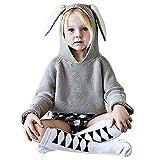 Belababy Pull tricoté pour enfant avec oreilles de lapin -  gris -  3-4 ans