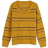 DRHGKSP Pullover Langärmliges Hemd Herbst Freizeit Wild Temperament War Thin V-Neck Cashmere-Pullover Streifen von künstlichen weiblichen langärmeligen Hemd, Wj3021 Rosa, Einheitsgröße