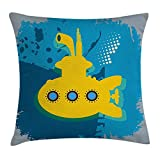 Yellow Submarine Decor Throw Pillow Cushion Cover, an Illustration of a Submarine Bubbles Under The Sea Print, Decorative Square Accent Pillow Case, 18 X 18 inches, Mustard Petrol Blue
