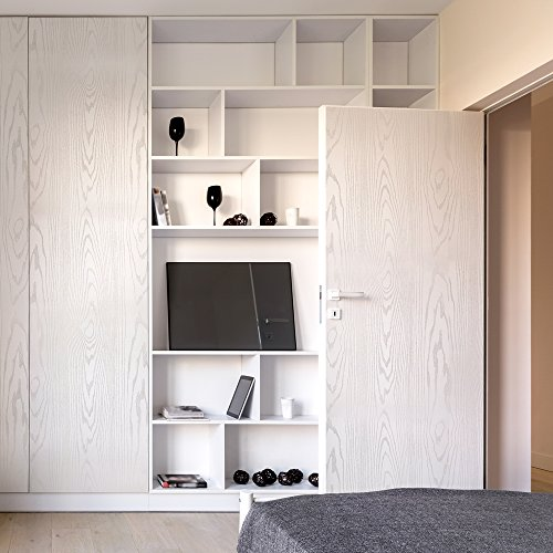 Fancy-fix Papel Pintado Autoadhesivo Vinilo Mueble Papel de contacto Imitación Madera Material PVC Impermeable Resistente Extraíble Color Blanco Dimensión 40CM*300CM