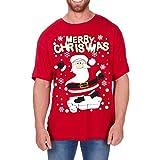 Regalo Navidad Novedad Camisetas Hombre Divertido Navidad Algodón Estampado Camiseta Nuevo Tallas Grandes - Santa, Large