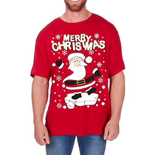 Regalo Navidad Novedad Camisetas Hombre Divertido Navidad Algodón Estampado Camiseta Nuevo Tallas Grandes - Santa, XX-Large
