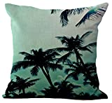 WITHOUT FILLER , Palm-Water Blue : Coconut Palm Tree Cushion Cover ChezMax Cotton Linen Throw Pillow Case Sham Square Pillowcase For Seniors Bedroom Sofa Couch Rocking Chair Seat