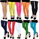#5: Churidar Leggings For Womens Ladies Girls Cotton Lycra Combo_Pack of 10_FreeSize_by Fablab®