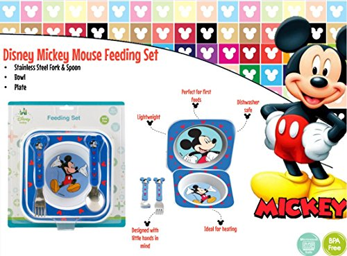 Image of Disney Baby Mickey Mouse Feeding Gift Set - Plate Bowl Stainless Steel Cutlery