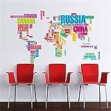 Takefuns Carte Du Monde Wall Sticker Nom Du Pays Wall Sticker Decal en Mots-grand Texte Carte Du Monde Autocollants pour Home Office Décor Salle À Manger Televsion Murs (C)