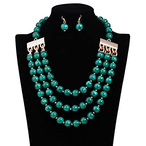 FAONL Europe And The United States Exaggerated Retro Multi Pearl Necklace Long Necklace Chain,Green-OneSize
