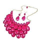 YAOYUE Damen Perle Kette Ohrringe Sets Statement Halskette Bonbonfarben Resin Anhänger Mehrschichtige Schmuck (rose)