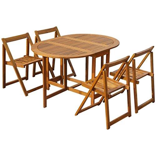 Festnight set tavolo ovale e 4 sedie pieghevole da pranzo for Tavolo di legno pieghevole