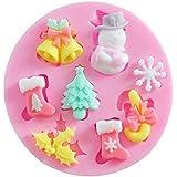 Hosaire 8 Cavidad 3D Tema de Navidad Molde de Papá Noel Campanas Calcetines Árbol en forma de Fondant Cake Caramelo Pudding Jalea de Chocolate de Silicona DIY Molde Decoración A Prueba de Calor Molde Divertido