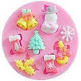 Fablcrew silicone cake Mold creative Mold Christmas Tree Snowman Bells calzino custodia cottura rosa