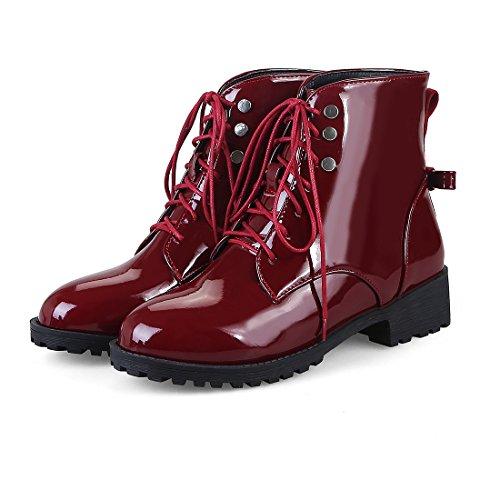 UH Femmes Chaussures Bottines Plates de Cheville a Lacet Bout Rond Retro Elegantes et Conforts Bordeaux