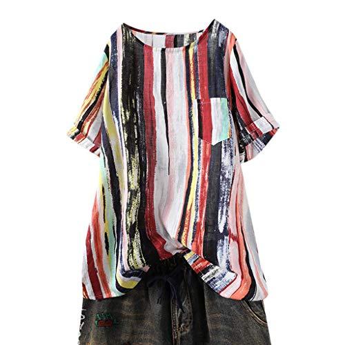 Kviklo Deman T-Shirt Top Graffiti Regenbogen Bunt Streifen Druck 0-Neck Bluse Pocket Loose Hippie Bluse Oversize(2XL(46),Rot)