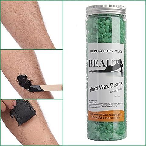 Bonjanvye Depilatory Hard Wax Beans Professional Striptless Hair Removal Wax Beads 400g Green Tea