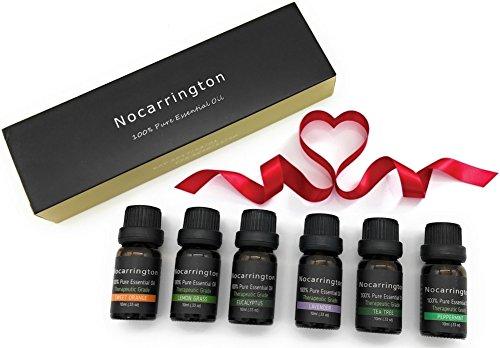 Nocarrington | Oli essenziali Aromaterapia 100% puro e naturale | 6 * 10 ml (0.33 oz) | Arancia, lavanda, tea tree, citronella, eucalipto e menta piperita | Grado terapeutico