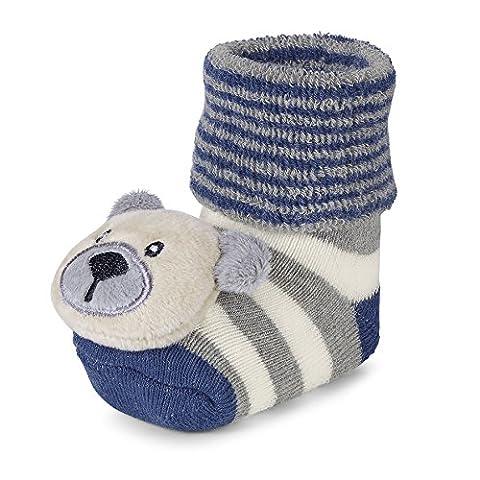 Sterntaler Baby - Jungen Socken Baby - Rasselsöckchen Bär 8441700, Gestreift, Gr. 16, Blau (atlantik 307)